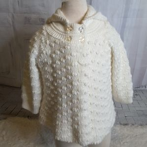 3/$30 Little Lass white hooded cardigan sz 24 mos